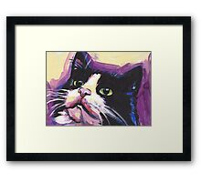 Tuxedo Cat Bright colorful pop kitty art Framed Print
