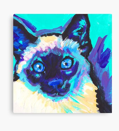 Siamese Cat Bright colorful pop kitty art Canvas Print