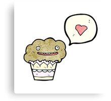 cartoon love muffin Canvas Print