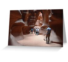 Antilope Canyon with hundsome men Greeting Card