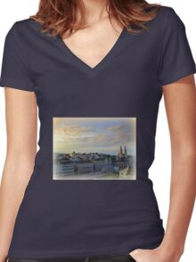 Morning Light in Zurich Women's Fitted V-Neck T-Shirt