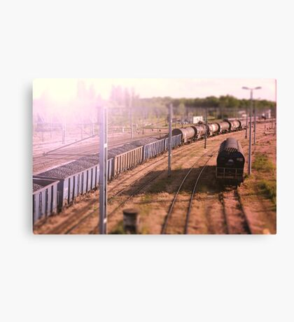 The cargo train. Railway wagons with coal standing on the tracks: the view from the top Canvas Print