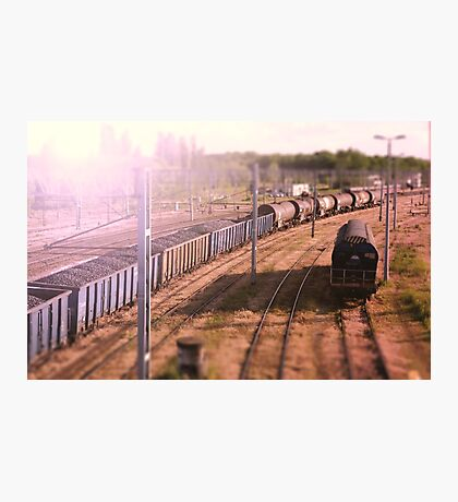The cargo train. Railway wagons with coal standing on the tracks: the view from the top Photographic Print