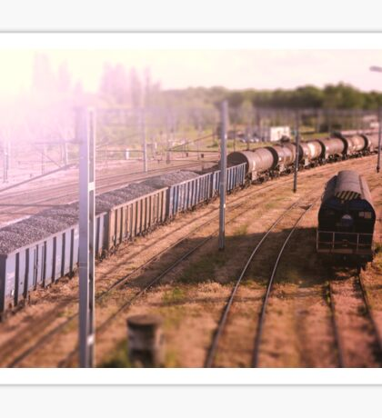 The cargo train. Railway wagons with coal standing on the tracks: the view from the top Sticker