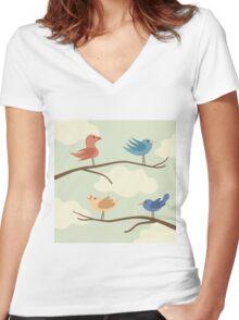 Bird on branch Women's Fitted V-Neck T-Shirt