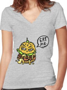Burger Women's Fitted V-Neck T-Shirt