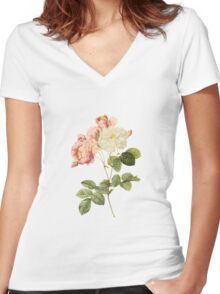 White and pink rose Women's Fitted V-Neck T-Shirt