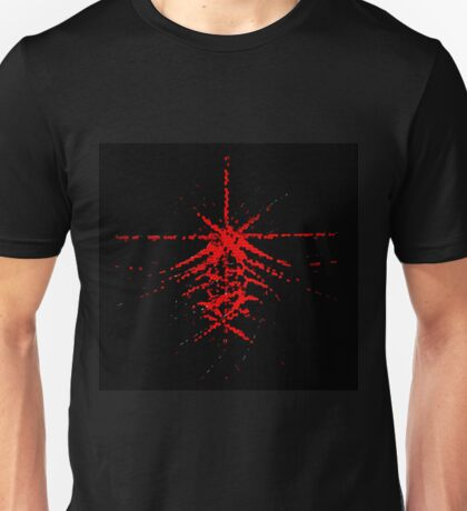 Abstract red space bang pattern background. Cosmic ray.  Unisex T-Shirt