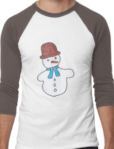 Cute Snowmen Watercolor Winter Christmas Pattern Men's Baseball ¾ T-Shirt