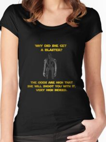 why did she get a blaster?? Women's Fitted Scoop T-Shirt