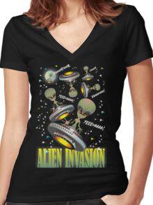 Alien Invasion  Women's Fitted V-Neck T-Shirt