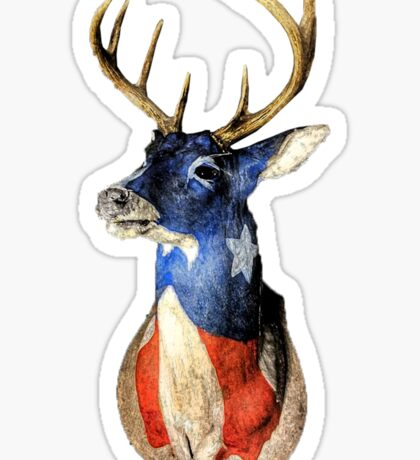 American Deer Head Red White and Blue Sticker