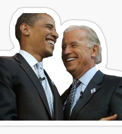 Obama and Biden Laughing Sticker