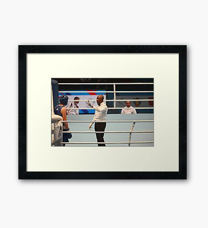Boxing referee believes knockdown Framed Print