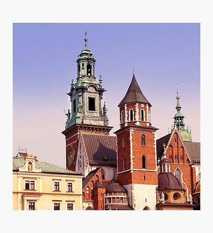 European old city. The gothic Wawel Castle in Krakow, Poland. 6x6, vintage colors Photographic Print