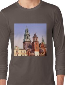 European old city. The gothic Wawel Castle in Krakow, Poland. 6x6, vintage colors Long Sleeve T-Shirt