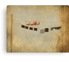 Clothes Drying on the Line Canvas Print