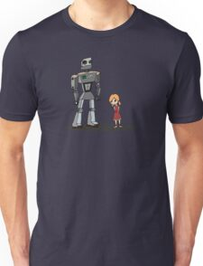 Cute Little Girl And Tall Metal Robot Cartoon Design Unisex T-Shirt