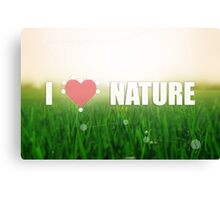I love nature. Grass texture. Colors: green and beige. Heart illustration Canvas Print