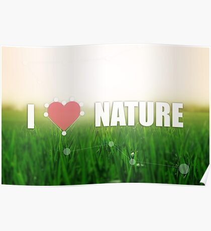 I love nature. Grass texture. Colors: green and beige. Heart illustration Poster