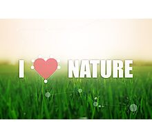 I love nature. Grass texture. Colors: green and beige. Heart illustration Photographic Print