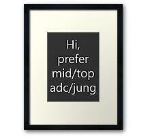 Hi prefer mid/adc/top/jung Framed Print