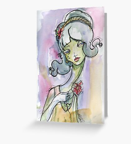 1920s Alien Flapper Girl - Watercolor Surreal Art Greeting Card