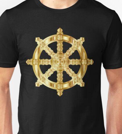 Gold Dharma Wheel Unisex T-Shirt