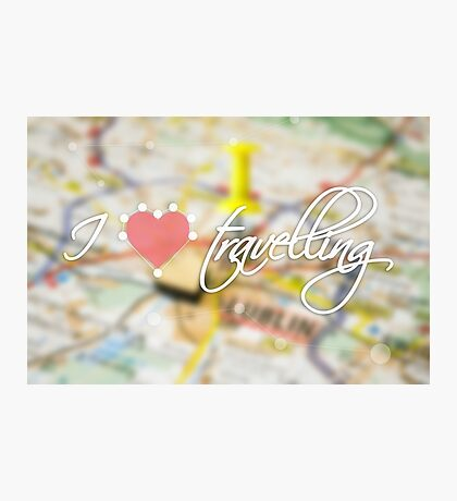 """Typography poster with the text """"I love travelling"""". Picture with the inscription. Map background. Pink heart Photographic Print"""