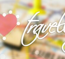 """Typography poster with the text """"I love travelling"""". Picture with the inscription. Map background. Pink heart Sticker"""