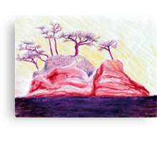 Drawing Day Purple Bonsai Island Canvas Print