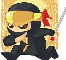 Little Ninja Holding Japanese Sword by BluezAce