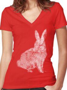 White Rabbit (Monochromatic Hue Series) Women's Fitted V-Neck T-Shirt