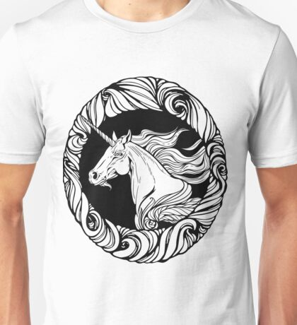 Image of unicorn's head in floral style frame. Unisex T-Shirt