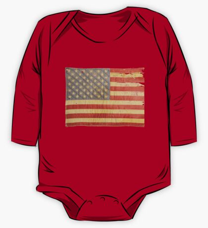 American flag - destroyed, vintage, distressed One Piece - Long Sleeve
