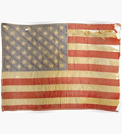 American flag - destroyed, vintage, distressed Poster