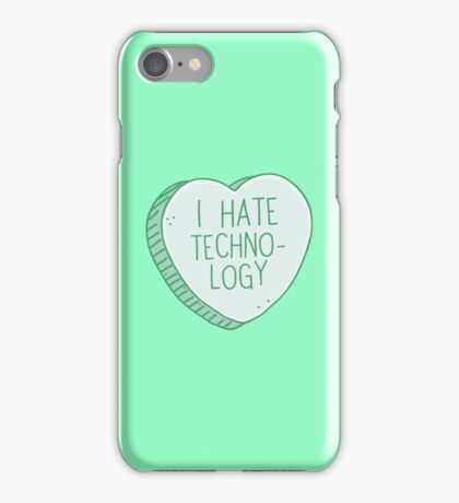 I hate techno-logy (technology) heart candy iPhone Case/Skin