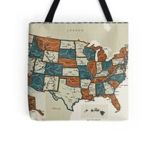 USA - Vintage Effect Map Tote Bag