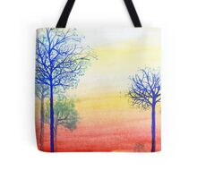 Sunset with Blue Trees Tote Bag