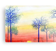 Sunset with Blue Trees Metal Print
