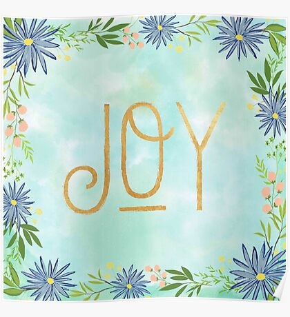 JOY,gold text,typography,seasonal,happy holidays,christmas,floral,flowers,water color, background,modern,trendy Poster