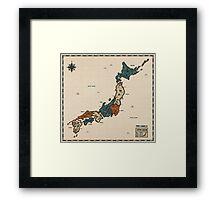 Japan - Vintage Effect Map (with border) Framed Print