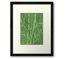"""Green Bamboo"" (monochromatic hue series) Framed Print"
