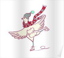 Winter skating chicken Poster