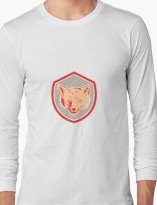 Red Fox Head Front Shield Retro Long Sleeve T-Shirt