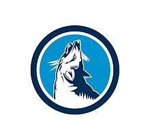 Red Fox Head Howling Circle Retro by patrimonio