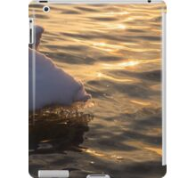Happy Sunset Ice - the Icy Snowbanks Reflecting in the Lake iPad Case/Skin