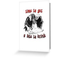Vintage Vampire Skeleton Halloween Illustration  Greeting Card