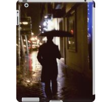 Man walking in street at night in rain color 35mm analogue photojournalism portrait photograph iPad Case/Skin