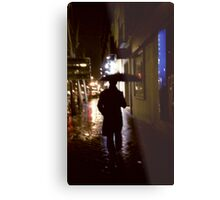 Man walking in street at night in rain color 35mm analogue photojournalism portrait photograph Metal Print